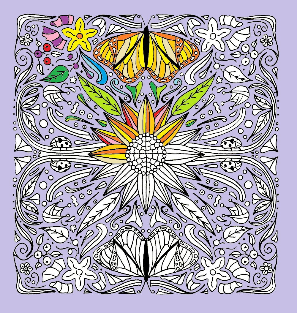 Sunflower And Butterflies Mandala Coloring Page