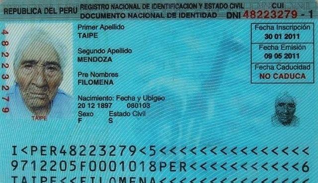 carte identite Filomena Taipe Mendoza