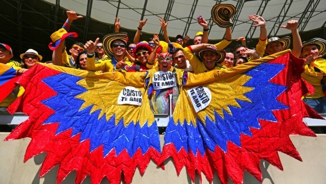 Des supporters colombiens lors de la Coupe du Monde avant le match Colombie Grèce le 14 juin 2014 ©Photo/IC