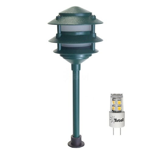 led outdoor landscape lighting green 3 tier pagoda path light warm white low voltage