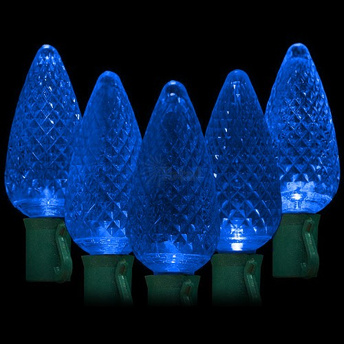 "led blue christmas lights 50 c9 faceted led bulbs 8"" spacing 342ft green  wire 120vac"