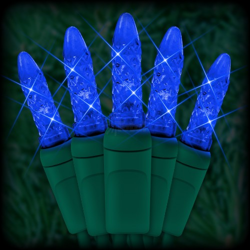 "led blue christmas lights 50 m5 mini led bulbs 6"" spacing 23ft green  wire 120vac"