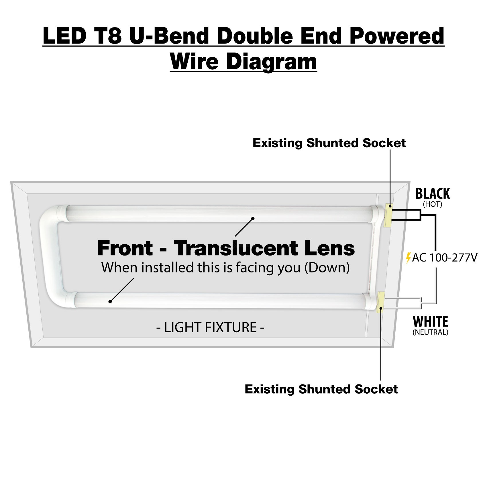 hight resolution of  led t8 u bend double end powered wire diagram