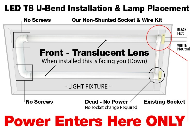 2 Ballast With 4 Lamps Wiring Diagram Led T8 U Bend U6 Tube 17watt Frosted Lens 5000k Cool White