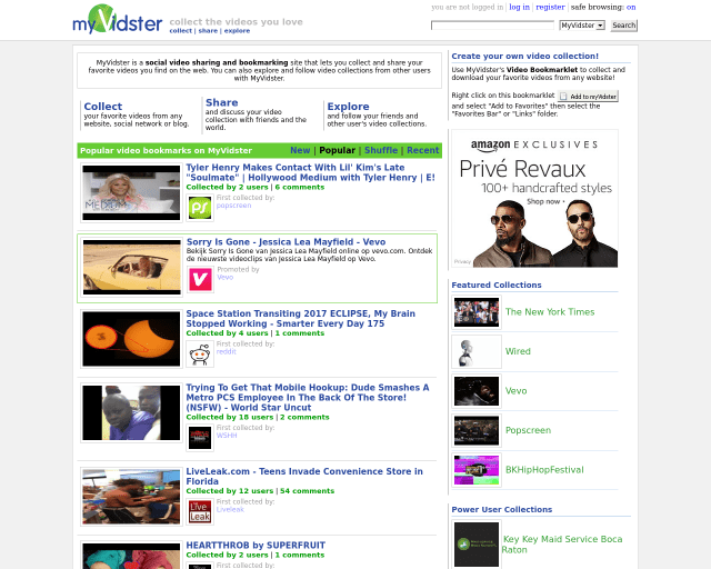 Myvidster Homepage Screenshot