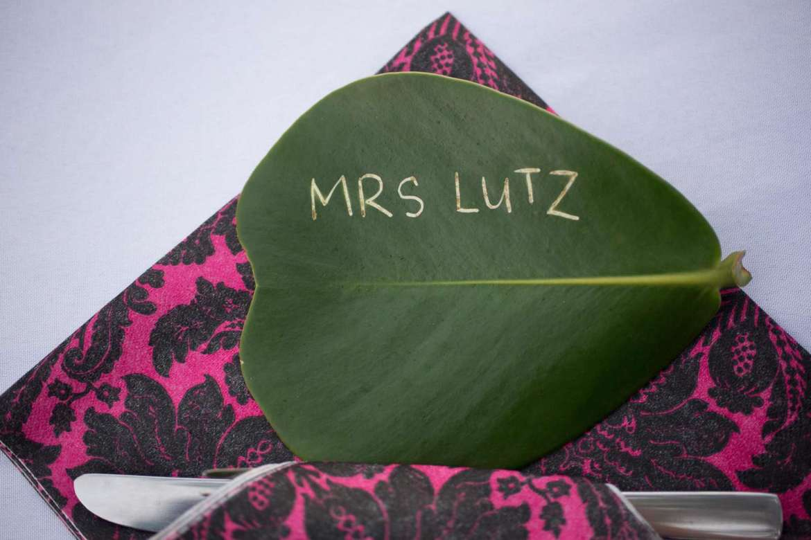The Autograph tree leaf used as a place marker for a wedding