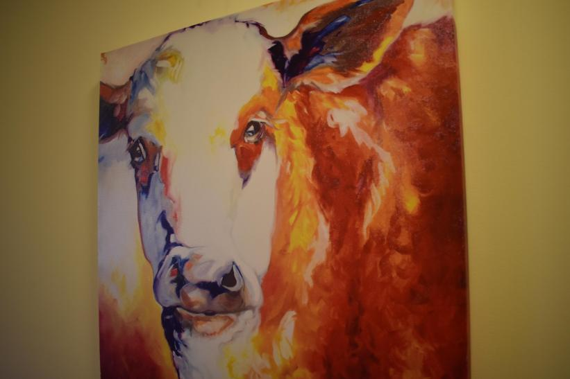Cow Art near Family Room