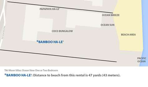 Google map of beach and location fo Bamboo Hale' at Tiki Moon Villas an