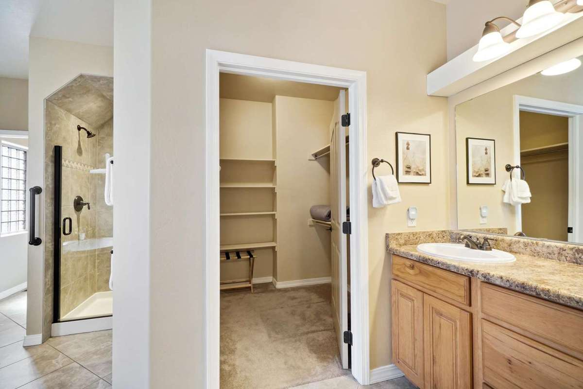 Beautiful walk in shower located in the master bedroom