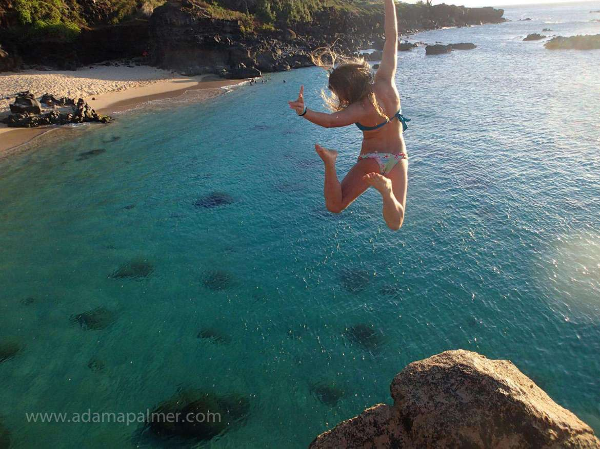 The jump from the rock at Waimea beach park is only 20 minutes from Tiki Moon Villas