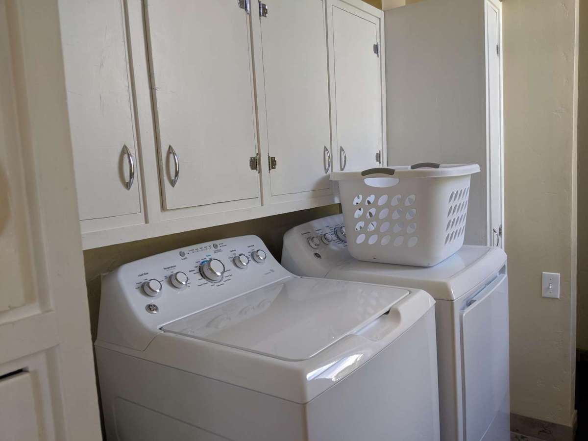 Full size washer and dryer comes with complimentary laundry soap