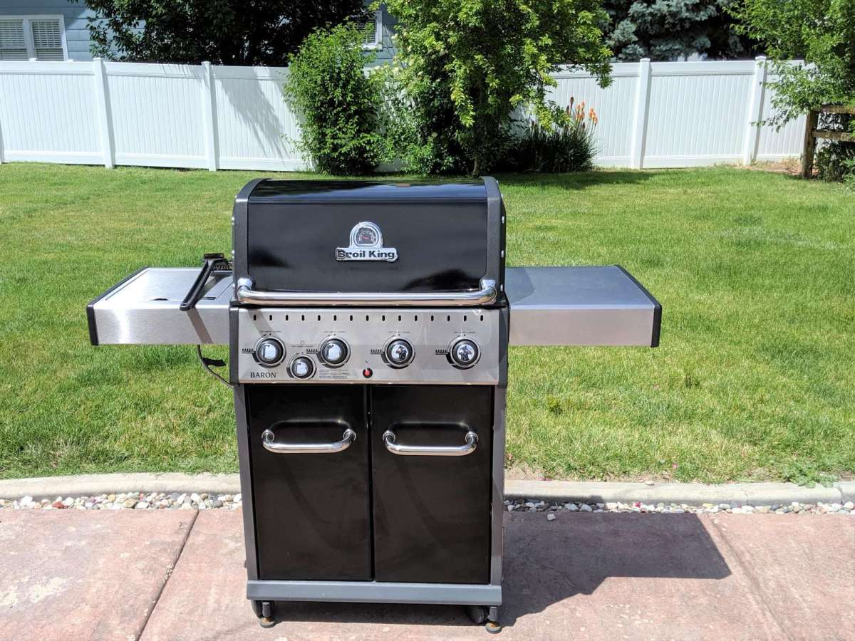 Propane barbecue grill located on the patio