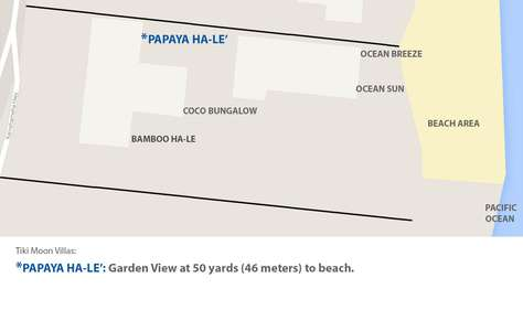 Map view of Papaya Hale' only a short walk to beach from back door.