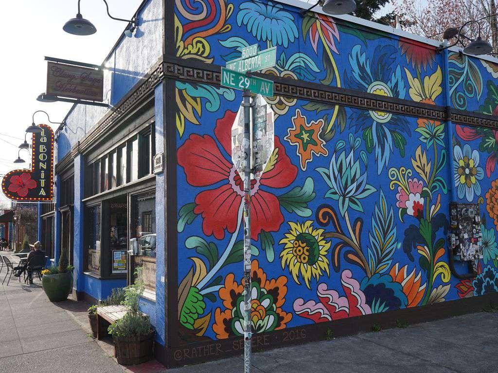 Cool street art and murals line Alberta Street.