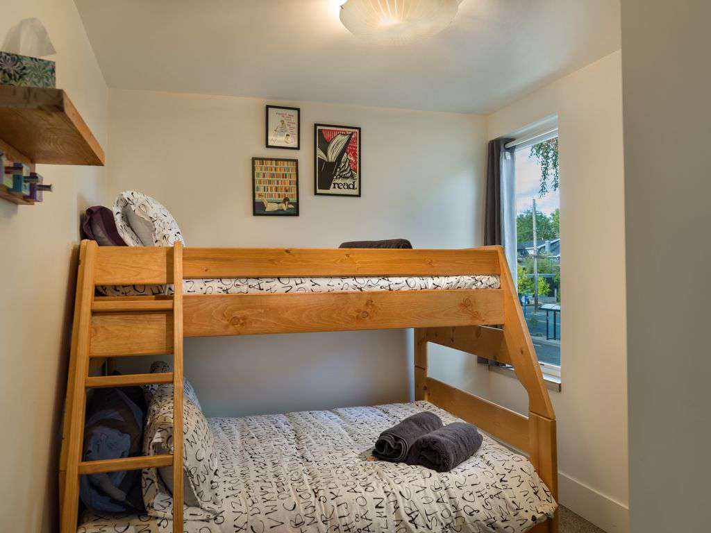 The Book Room has a double down twin up bunk bed. Rooms have heat pumps w/ AC!