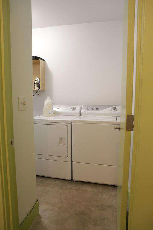 We have a washer/dryer, iron, pack n play, high chair, and stroller for you!