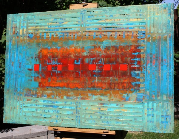 Primitive Abstract 7 Red Squares 2016 Acrylic Painting