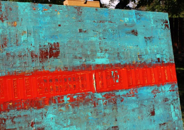 Primitive Abstract Red Line 2016 Acrylic Painting
