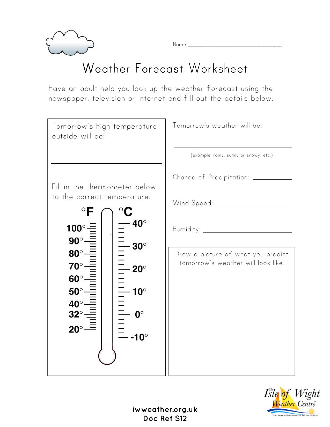 Weather Worksheets For Schools