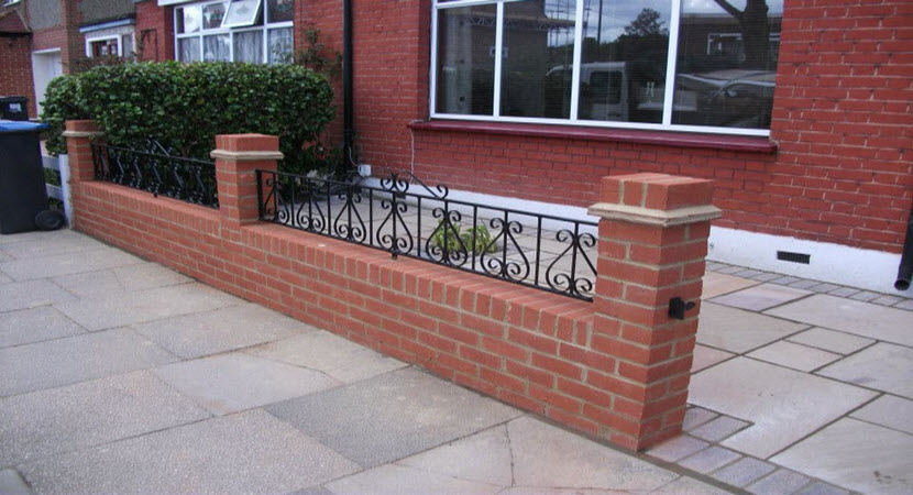 Marvelous Front Garden Brick Wall Designs Painting For Interior