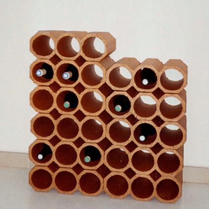 casier bouteille terre cuite 3 trous