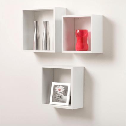 etagere cube duraline 3tc blanc laque 35 cm 3 pcs