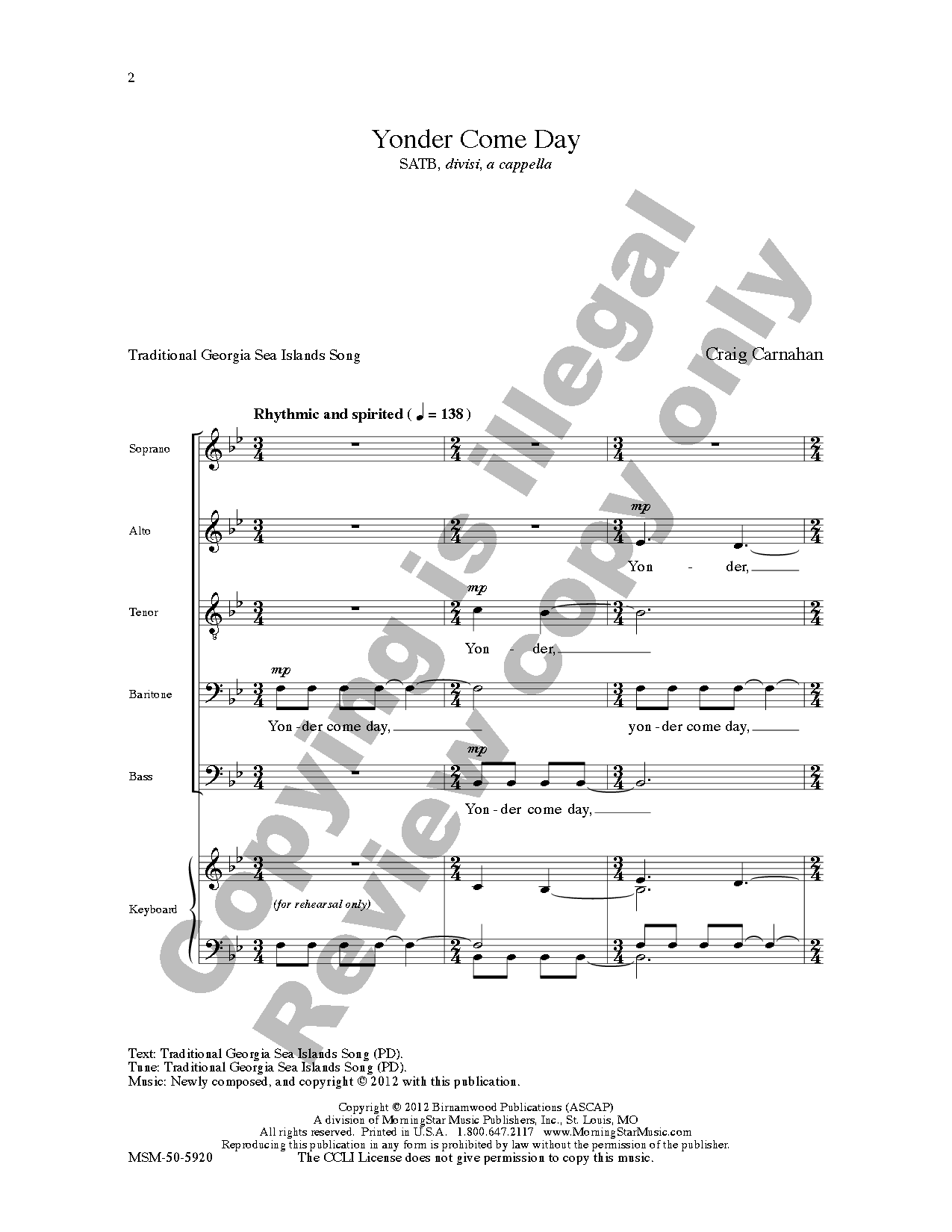 Yonder Come Day (SATB ) by Craig Carnahan| J.W. Pepper