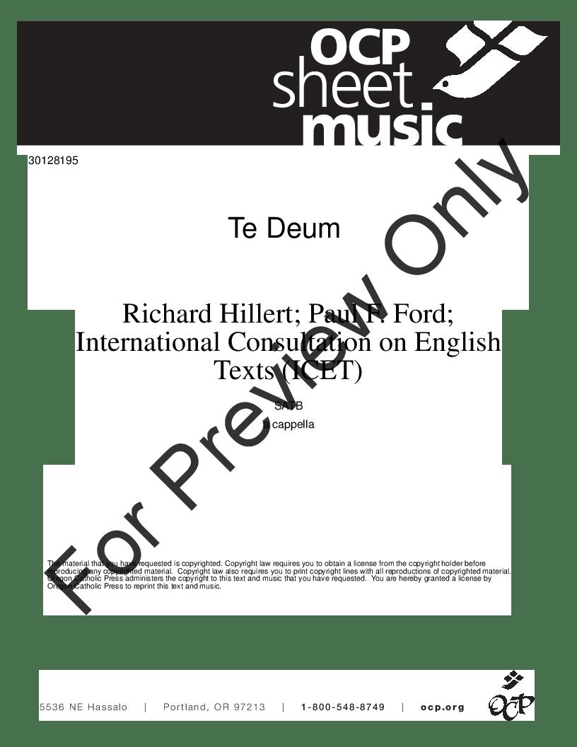 Te Deum (SATB ) by Richard Hillert  J.W. Pepper Sheet Music