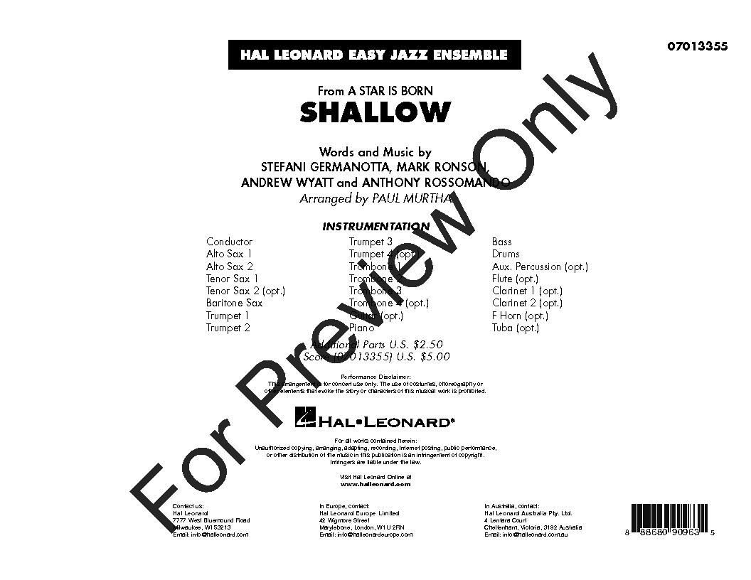 Shallow arr. Paul Murtha| J.W. Pepper Sheet Music