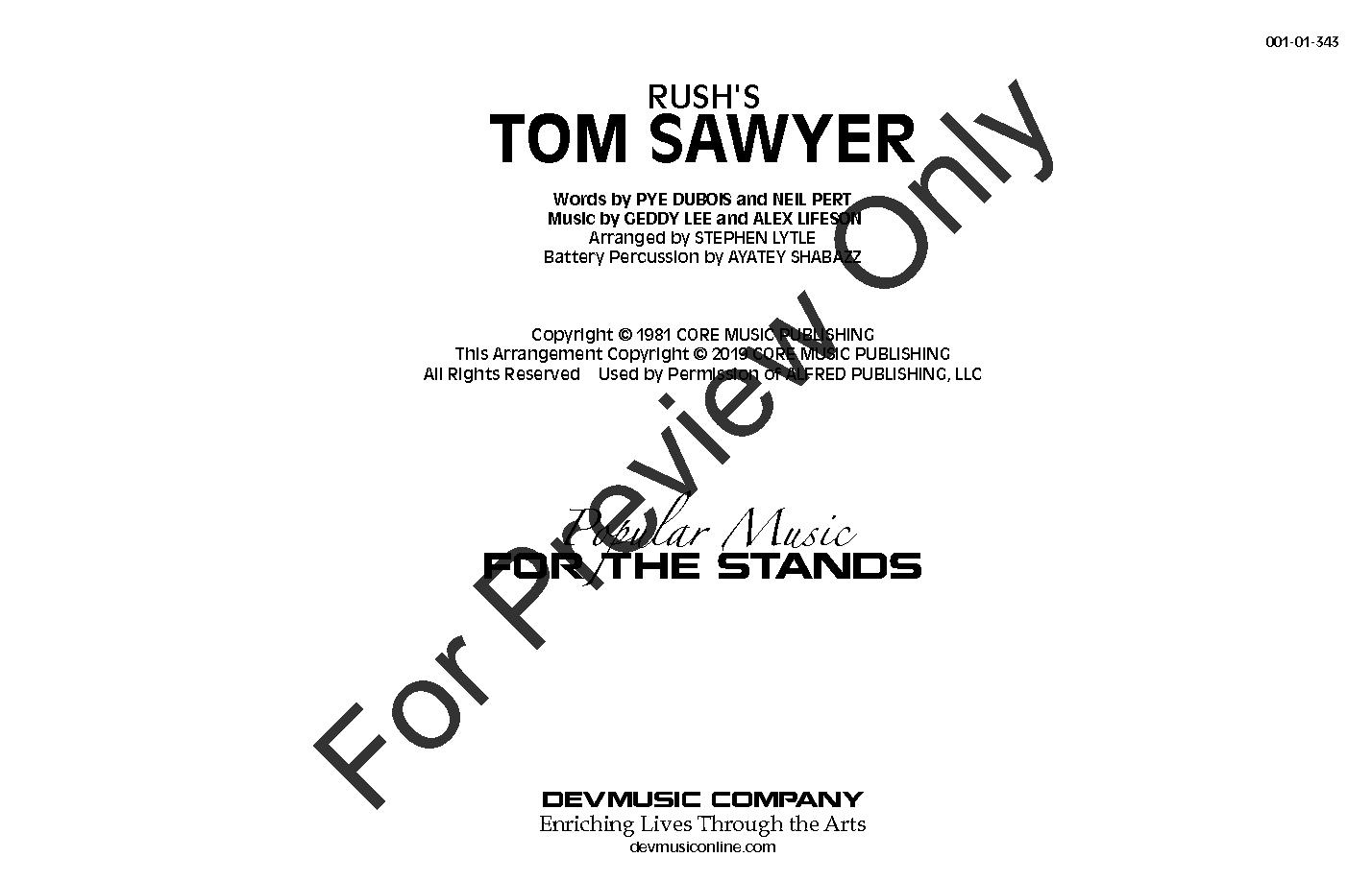 Tom Sawyer arr. Stephen Lytle & Ayatey Shabazz| J.W