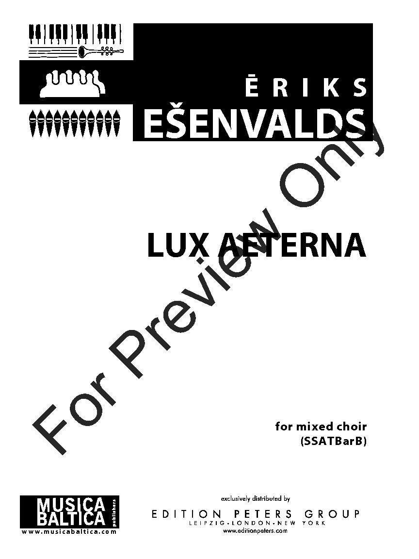 Lux Aeterna (SSATBB ) by Eriks Esenvalds  J.W. Pepper