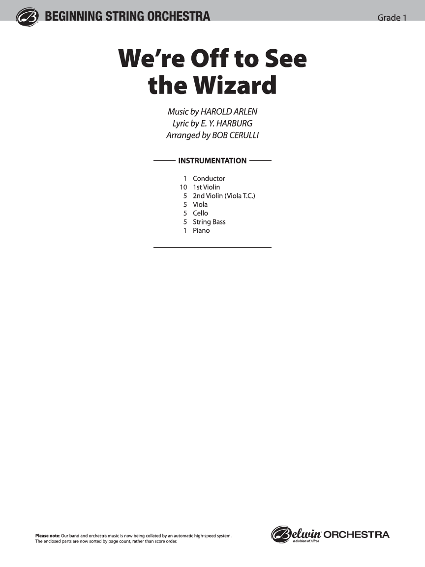 We're off to See the Wizard arr. Bob Cerulli| J.W. Pepper