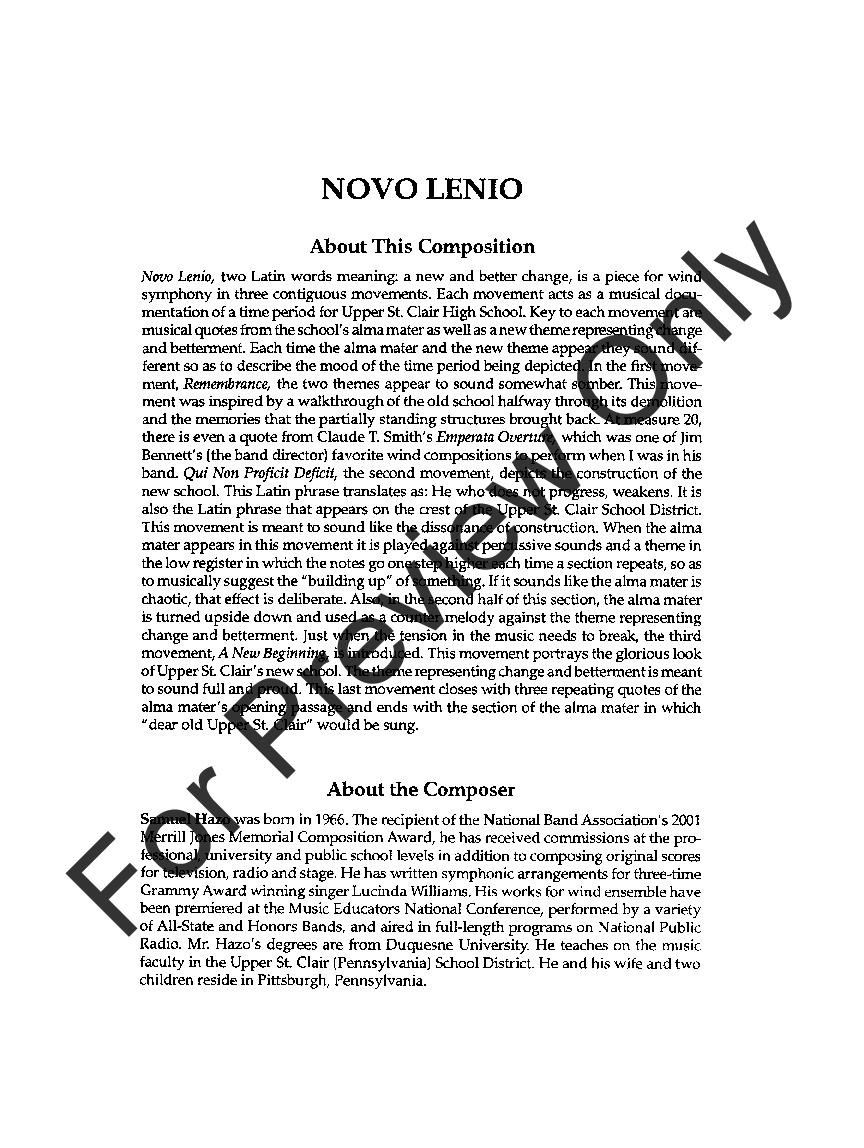 Novo Lenio by Samuel Hazo| J.W. Pepper Sheet Music
