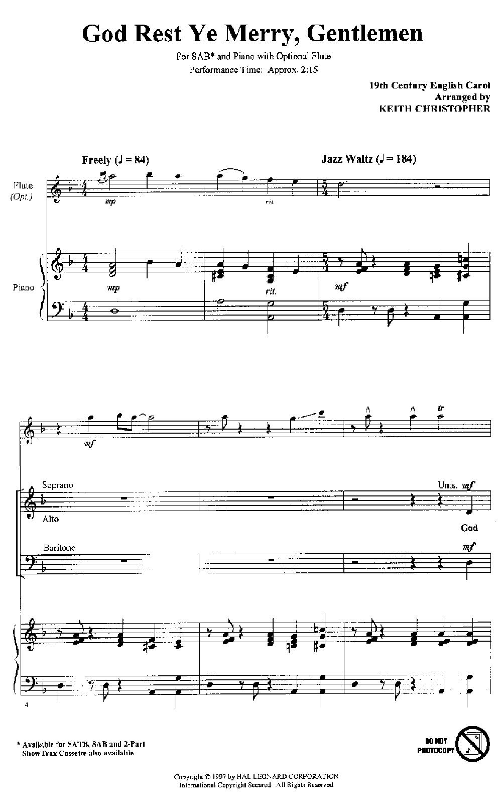 God Rest Ye Merry Gentlemen (SAB ) by Keith | J.W. Pepper Sheet Music