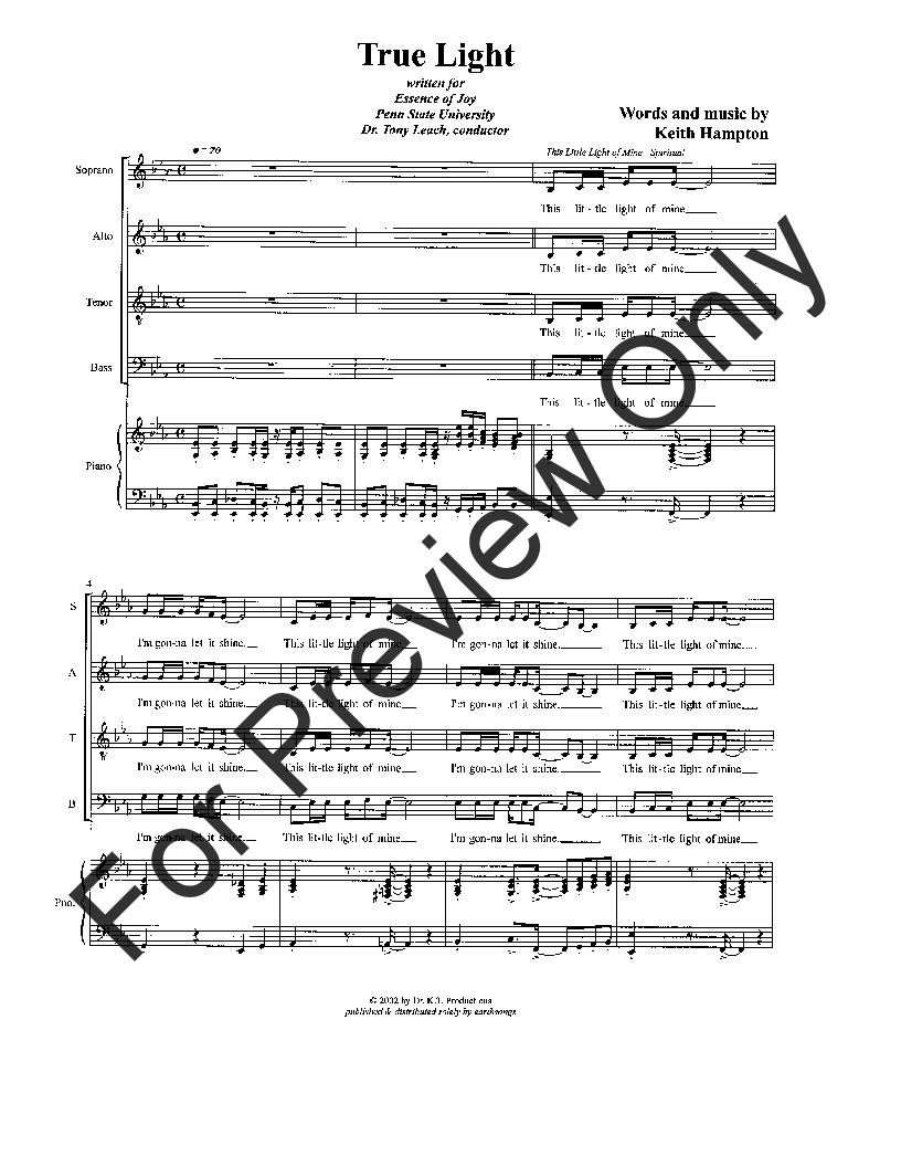 True Light (SATB ) by Keith Hampton  J.W. Pepper Sheet Music