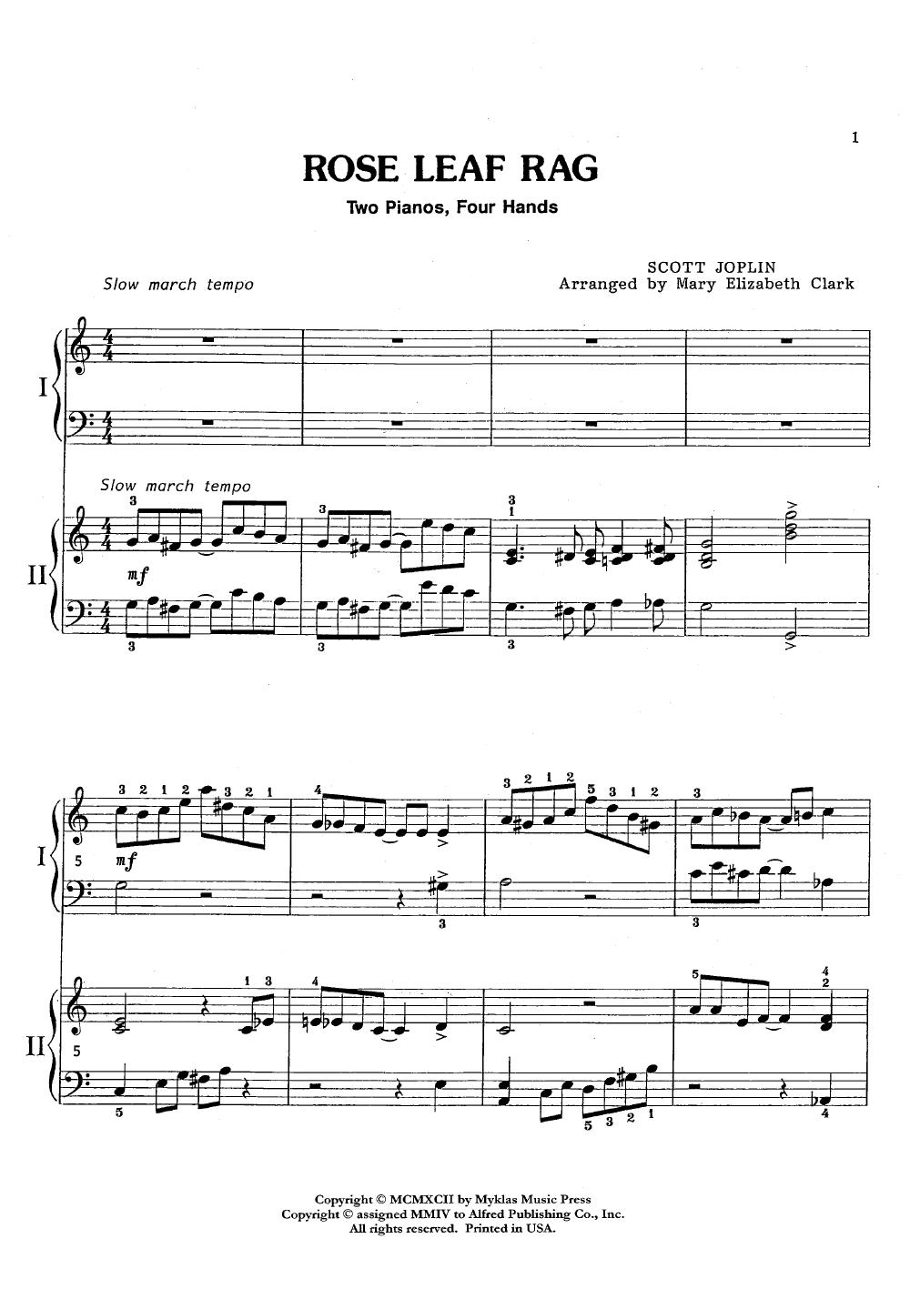 medium resolution of  rose leaf rag 2 piano 4 hands thumbnail
