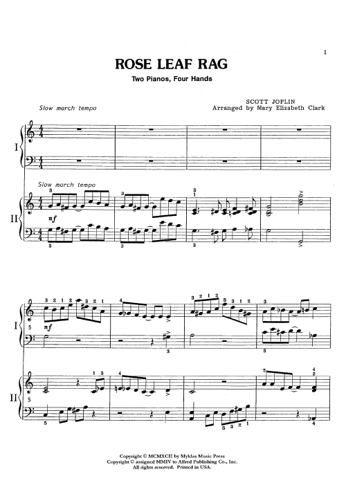 small resolution of  rose leaf rag 2 piano 4 hands thumbnail