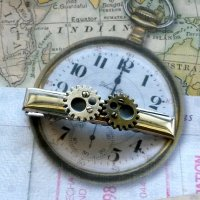Steampunk Gears Tie Clip Men's Tie Bar Handmade Gift By Aunt