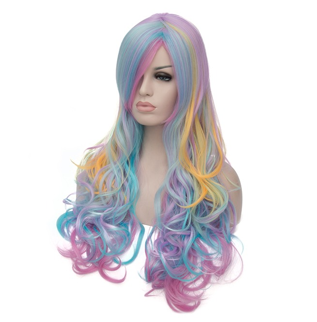 multi color rainbow hair highlights