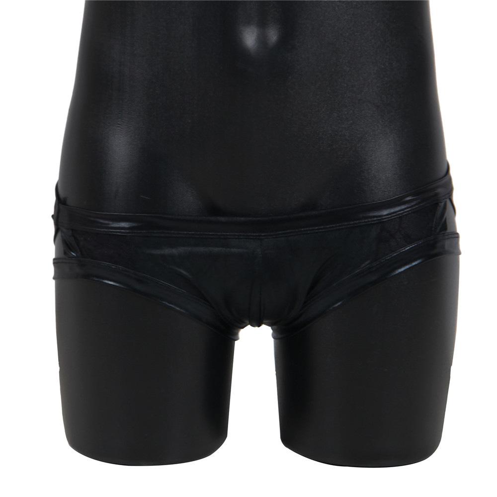 Men' Sexy Lace Briefs Underwear Elastic Faux Leather