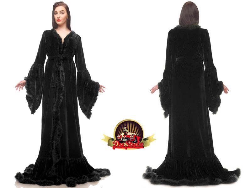 Velvet Dressing Gown / Marabou Feather Velvet Robe