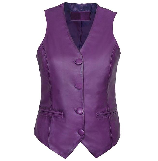 women purple leather waistcoat