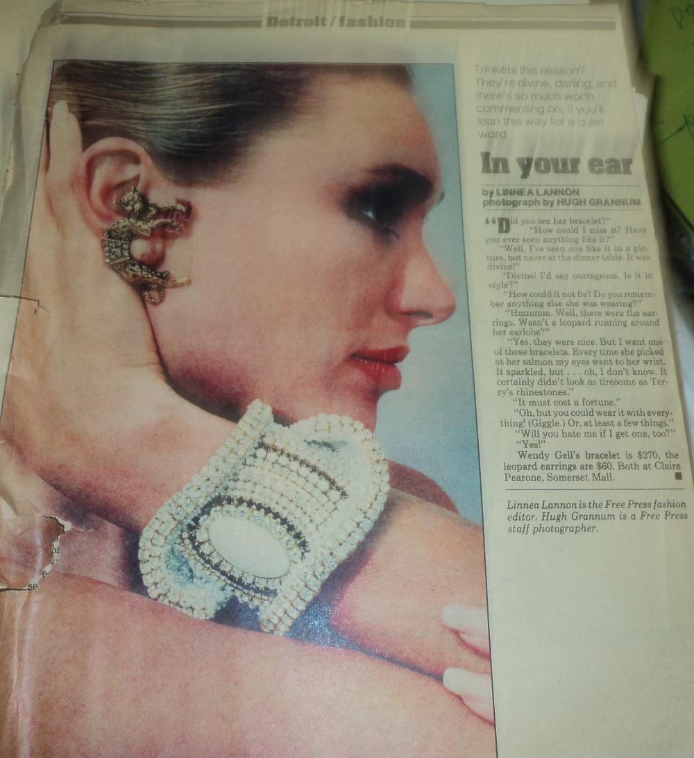 Here is one of my classic folded cuffs, featured in a Detroit newspaper when I did a trunk show there. Wendy Gell GoFundMe.com campaign