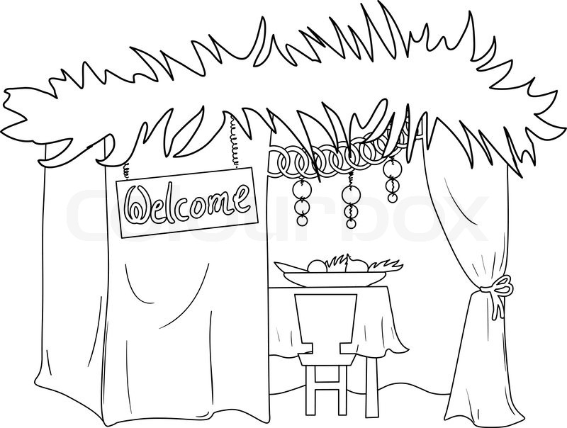 A Vector illustration coloring page of a Sukkah decorated