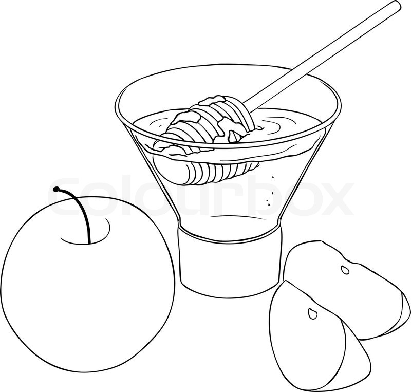 Vector illustration coloring page of honey and apple for