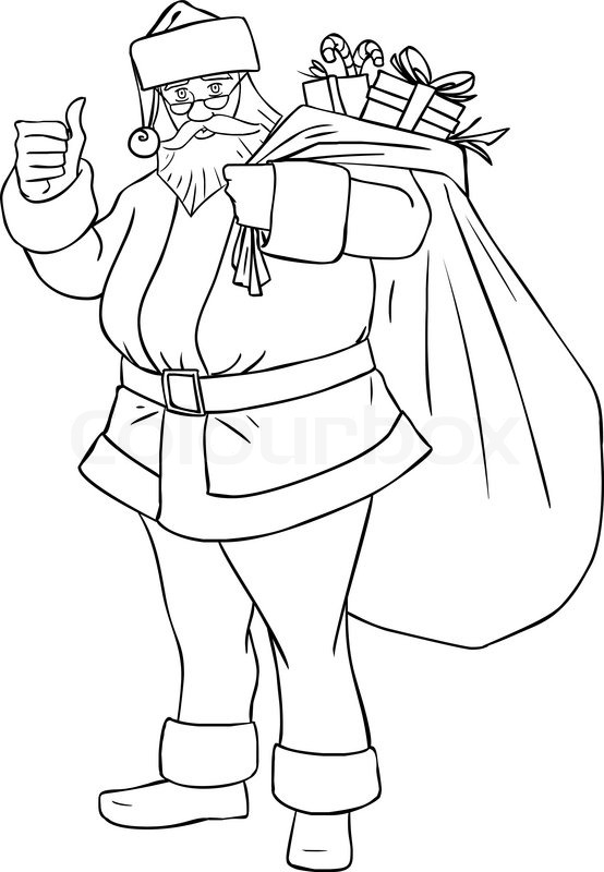 Vector illustration coloring page of Santa Claus holding a