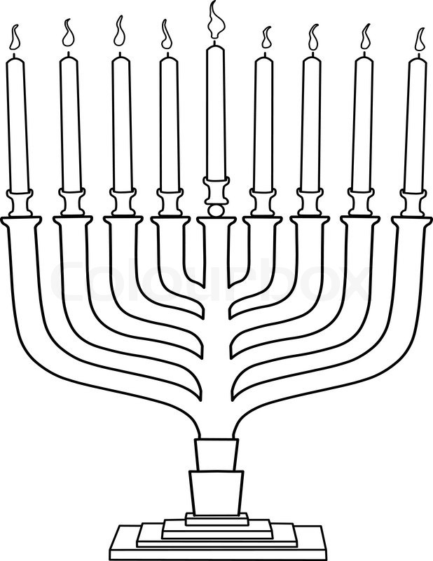 Vector illustration coloring page of Hanukkiah with