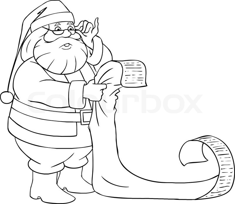 A vector illustration of Santa Claus holding and reading
