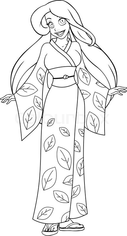 Vector illustration coloring page of a caucasian woman in