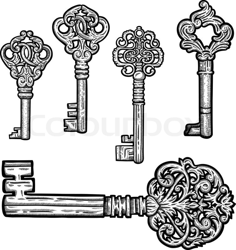 Set of vintage old key. Engraving retro illustration